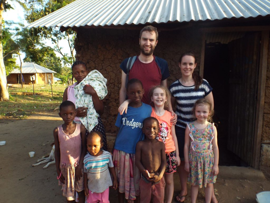 Greg and his family at the School in Kenya.